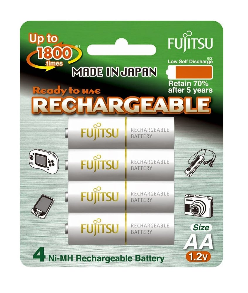 Fujitsu Ready-to-Use AA Rechargeable Batteries (White) Set of 4 - thumbnail