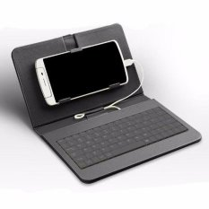 General Wired Keyboard Flip Holster Case For Android Mobile Phone 4.2-6.8 (black) By Happy Choice.