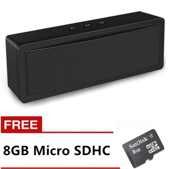 Genesis B-21 Mini Portable Bluetooth Speaker (Black) with FREE 8GB Memory Card