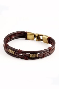 Genuine Leather Unisex Casual/Sporty Multi-Layer Alloy Hook Link Chain Christmas Holiday Bracelet (Brown) - Intl