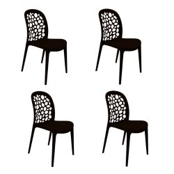 GGE 470 BLK PP Accent Chair Set of 4 (Black)