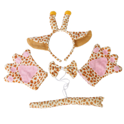 Giraffe Cosplay Christmas Halloween Costume Outfit Headband Gloves Tie Tail Set of 4