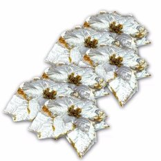 Glitter Hollow Christmas Flower Xmas Tree Ornament Home Party Wedding  Decoration Set of 6 8f2049fabb35