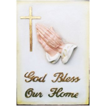 God Bless Our Home Plaque / Wall decor Religious Item (Made of Fiberglass Resin) by Everything About Santa (Christmas decoration and gift suggestion)