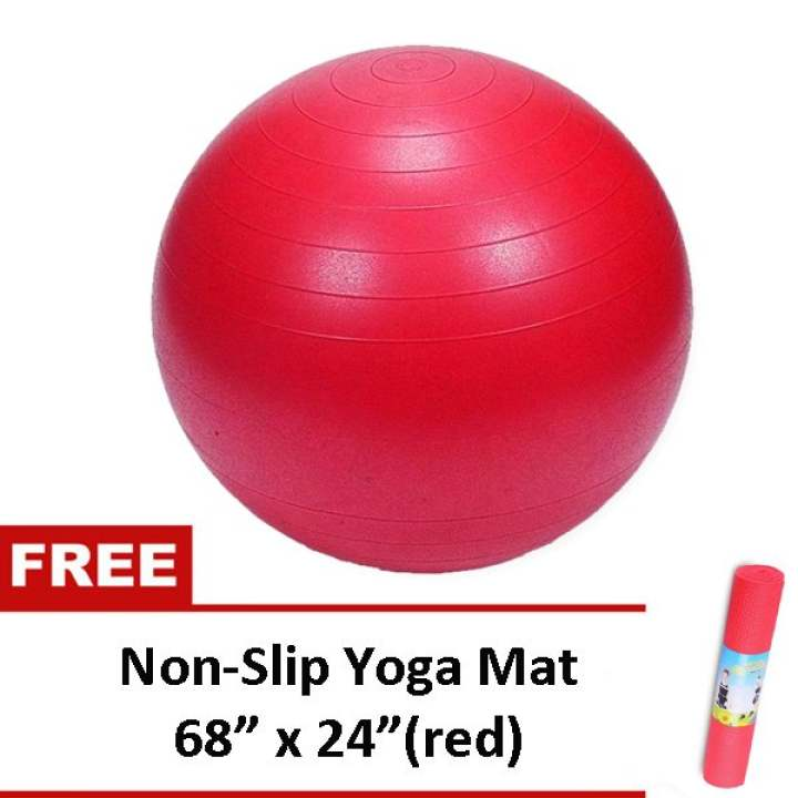 """Gym Ball (Red) With Free Non Slip Yoga Exercise Mat 68"""" X"""