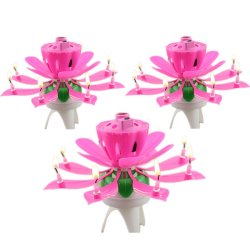 Happy Birthday Musical Lotus Flower Rotating Candle set of 3