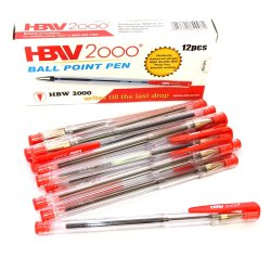 HBW 2000 Red Ball Point Pen 12 Pcs
