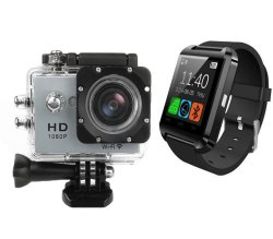 HD DV 1080P 12MP Wifi Action Sports Camera (Sliver) with Free Bluetooth Touchscreen Smart Watch