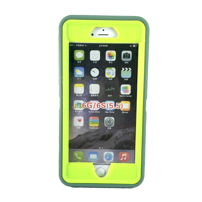 low priced bc112 d25ee JM Heavy Duty Defender Silicone Case Cover for Apple iPhone 6 Plus 5.5  (Grey/Lime Green) with Free Tempered Glass