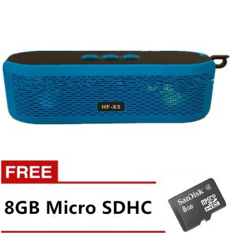 HF-X5 Wireless Bluetooth 4.0 Speaker (Blue) with Free 8GB Micro SDHC