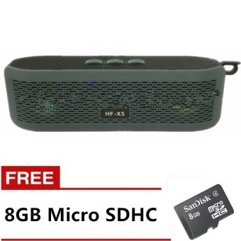 HF-X5 Wireless Bluetooth 4.0 Speaker (Gray) with Free 8GB Micro SDHC