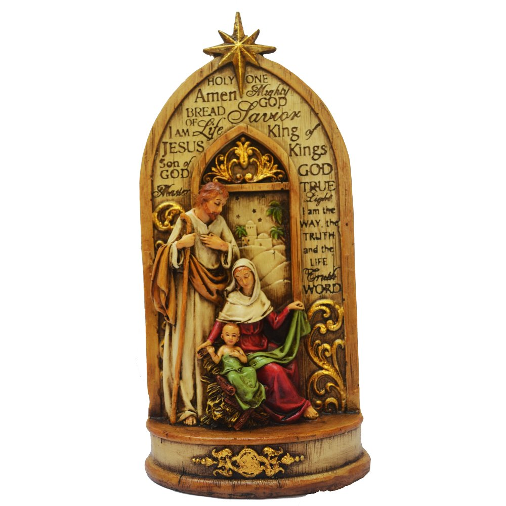 Holy Family The Holy One Religious Item (Jesus Christ - St. Joseph - Virgin Mary) Figurine for the Holiday (Made of Fiberglass Resin) by Everything About Santa (Christmas decoration and gift suggestion) - thumbnail