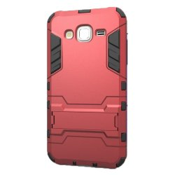 Hybrid Armor Defender Case with Stand for Samsung Galaxy J7 (Red)