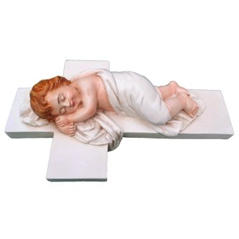Infant Jesus (Angel) Sleeping On A Cross - White Variant (25cm) Religious Item (Made of Fiberglass Resin) by Everything About Santa (Christmas decoration and gift suggestion)