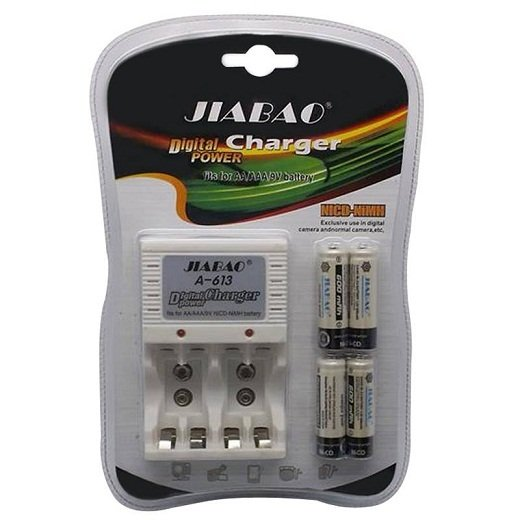 Jiabao A-613 Charger with 4-Piece 600mAh AA Rechargable Battery - thumbnail