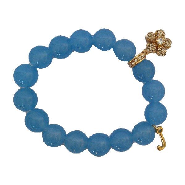 Juicy Couture Pave Flower Beaded Bracelet (Blue)