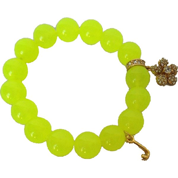Juicy Couture Pave Flower Beaded Bracelet (Neon)