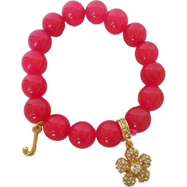Juicy Couture Pave Flower Beaded Bracelet (Pink)