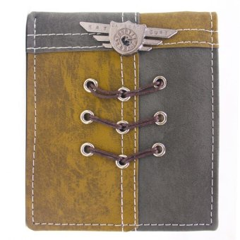 KayGurt Cross Lace Earth Tone Wallet (Brown/Dark Grey)