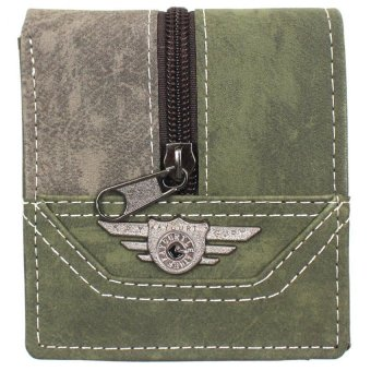 KayGurt Upright Zip Bicolor Earth Tone Wallet (Light Grey/Sap Green)