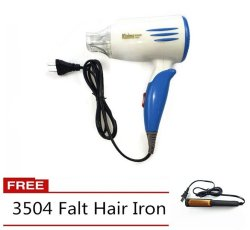 Klaime KLM-3328 Hair Dryer (Blue) with Free 3504 Falt Hair Iron