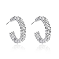 La Vie Sterling Silver Fine Thick Net Studs Earrings (Silver)