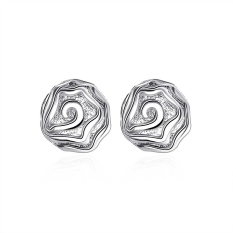 La Vie Sterling Silver Rose Flower Studs Earrings (Silver)