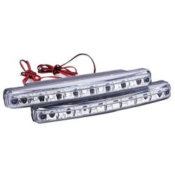 LCD 2Pcs White Car 8LED DRL Daytime Running Lights Head Lamp (Silver+White) (Intl)