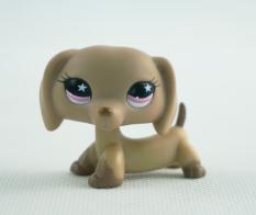 Littlest Pet Shop LPS #932 Girl toys Toys Animals Dachshund Brown Dog Puppy Pink Star