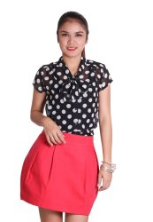 Love My Clothes Charmie Blouse (Black Polka)