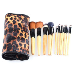 Makeup Brushes Set 12pcs with Leopard Print Brush Pouch (Intl)