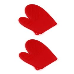 Manhattan Homemaker Kitchen Essential Silicone Oven Glove Set of 2 (Red)