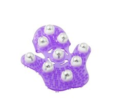 Massage Glove with Metal Roller Ball (Purple)