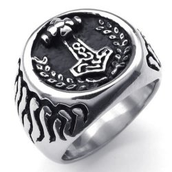 Massiness Vintage Stainless Steel Band Myth Thor's Hammer Ring Black Silver- INTL