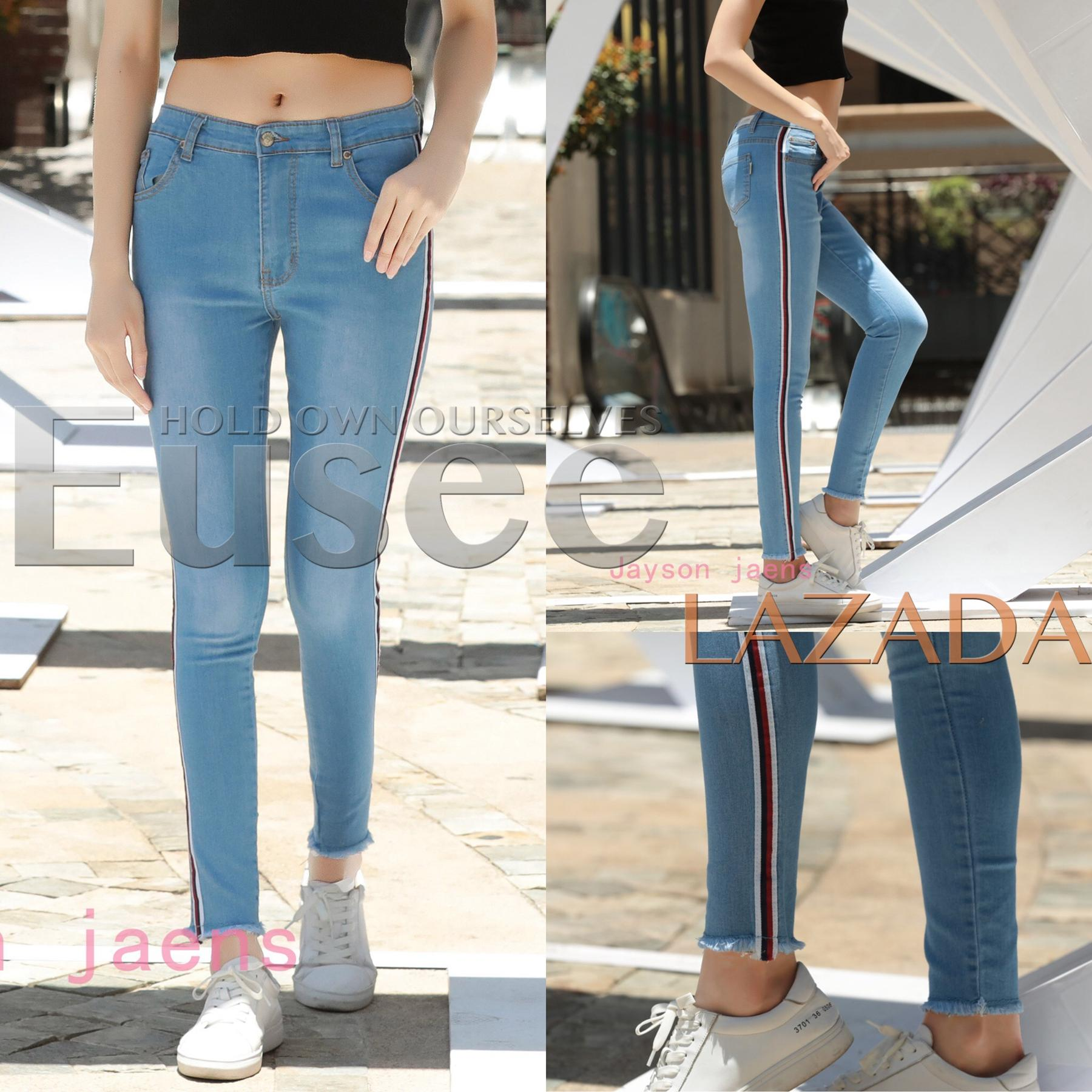 12a06670644 Philippines. EUSEE Light Blue Side stripe Low Waist Jeans Stretchable  Skinny Pants For Women