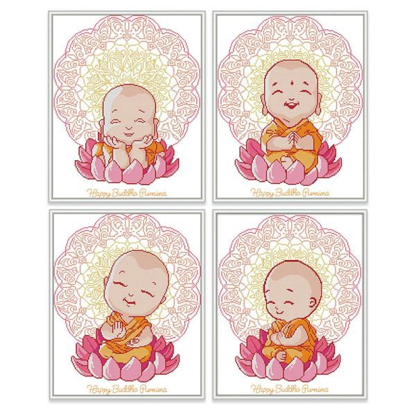 Tranh thêu chữ thập Tu sĩ Phật giáo DIY 14CT 11CT Cross Stitch Kit Buddhist Monk Design