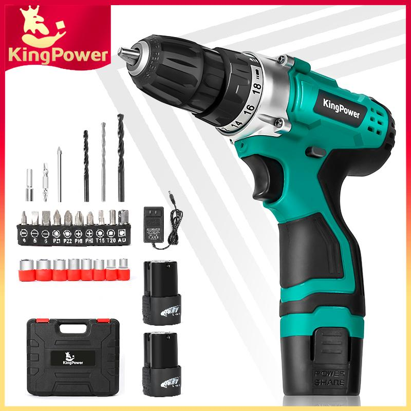 KingPower 12 6V Electric Drill Cordless Screwdriver Electric Hand Drill  (Two Battery)