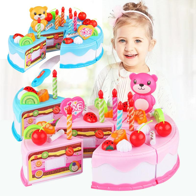 cc5169262b0e LAZADA TOP ONE mini Birthday Cake Toys Children DIY Fruit Cream Cutting  Food Toys Kids Pretend
