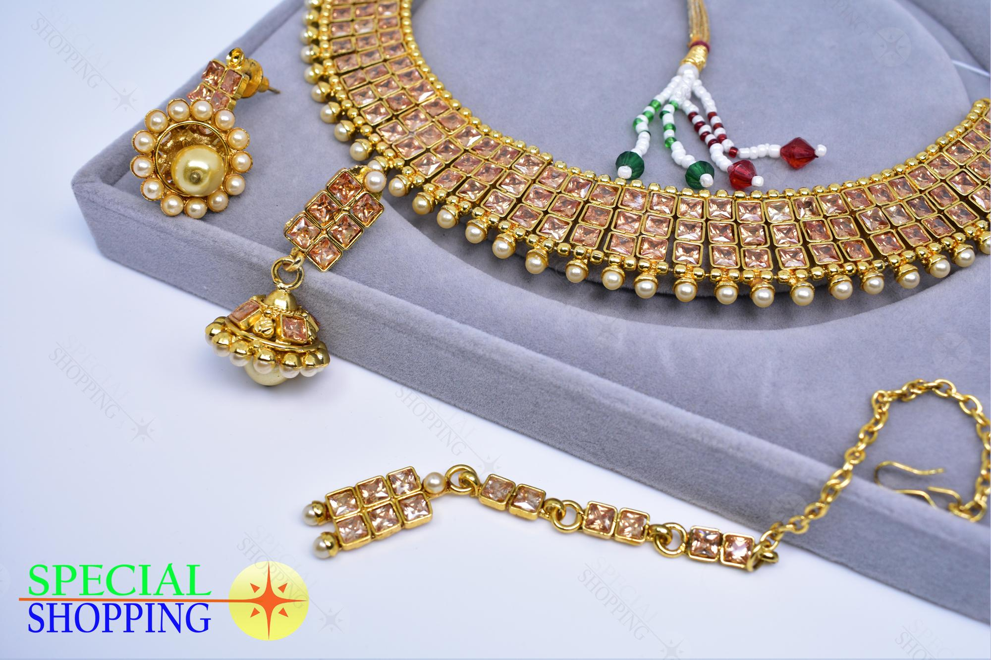 da8467b6b Indian Treasure Opal Uncut Glass Stone Faux Pearl Necklace Jhumka Earrings  Set
