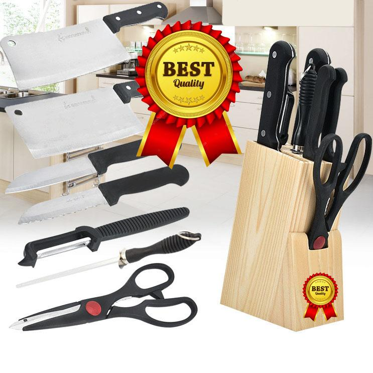 @@LAZADA TOP ONE 7pcs set Stainless Steel Kitchen Knife Set With Stand