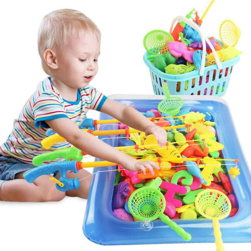 Lazada Top One 40x60cm Waterproof Magnetic Floating Fish Toys Fun Fishing Game Playset With Inflatable Pool Baby Learning & Education Bath Toys Fishing Bas(wala Sama Basket) By Sasung.