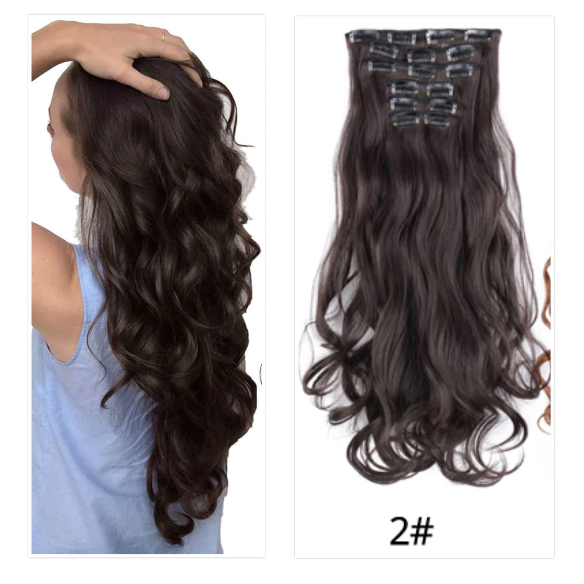 Wilko21 Women Long Big Curly Wavy Wig 16 clips in Hair Extensions (2   Natural fcbffac24