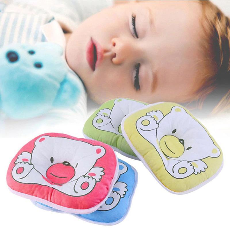 0842ee243474 LAZADA TOP ONE Cute Bear Cotton Newborn Baby Prevent Flat Head Pillow (  blue)