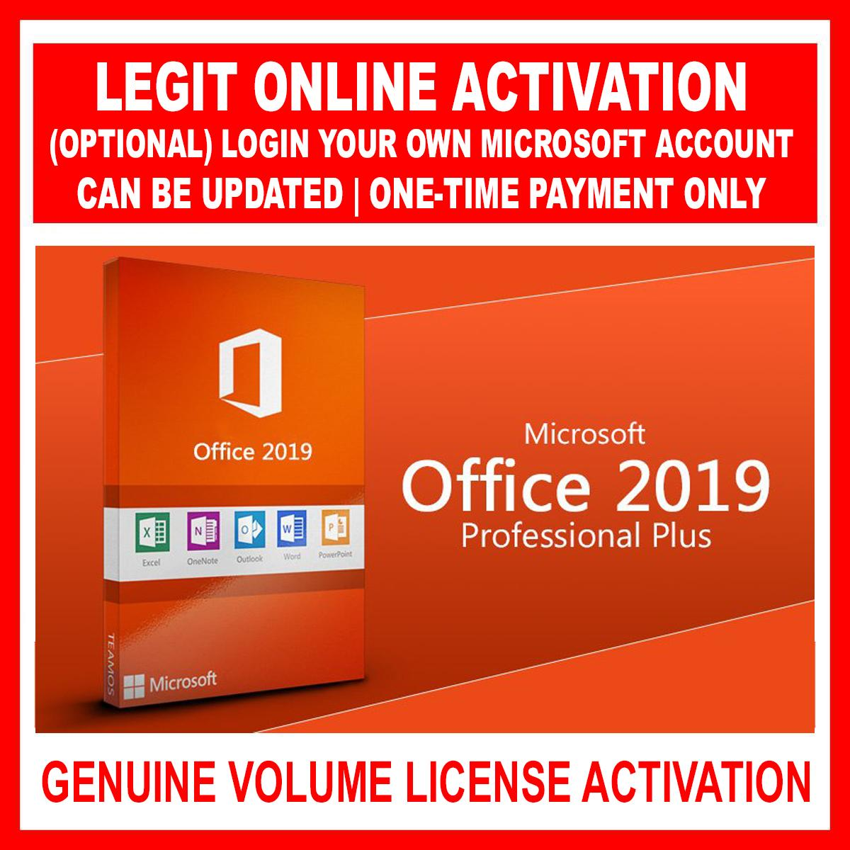 MS (Microsoft) Office Professional Plus 2019 for Windows 10 with Volume  License Activation up to 12 PC or Laptop can be updated and login own  account