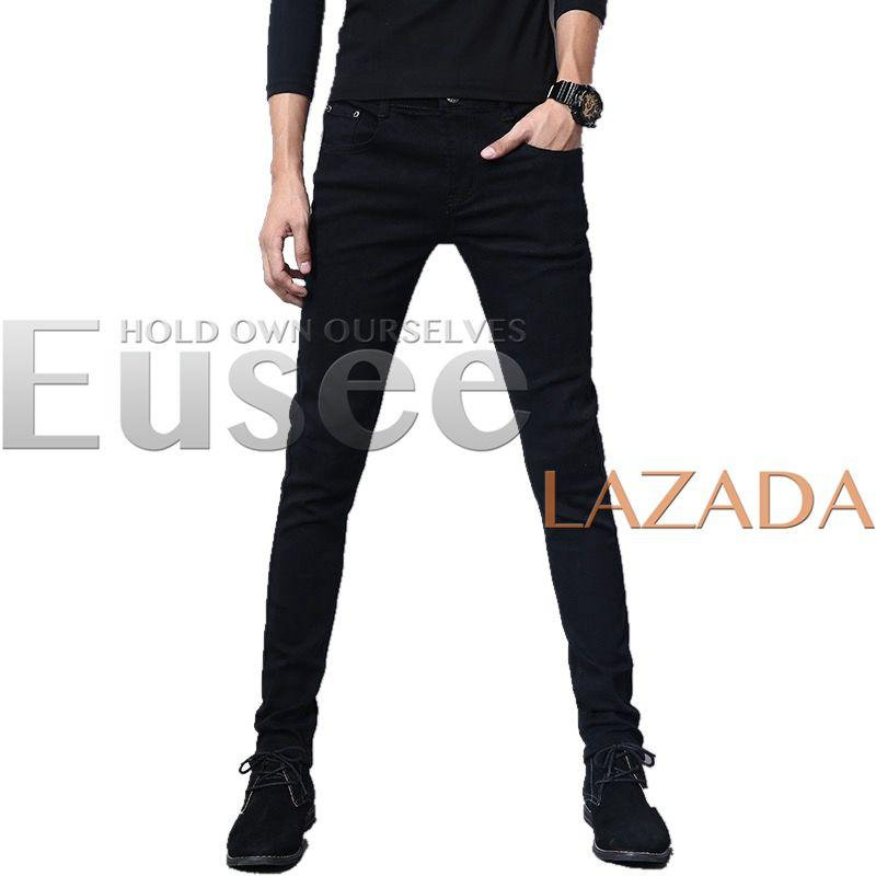 0a2c113bc9 EUSEE Korean Fashion Plain Black  blue Pants Skinny Jeans For Men