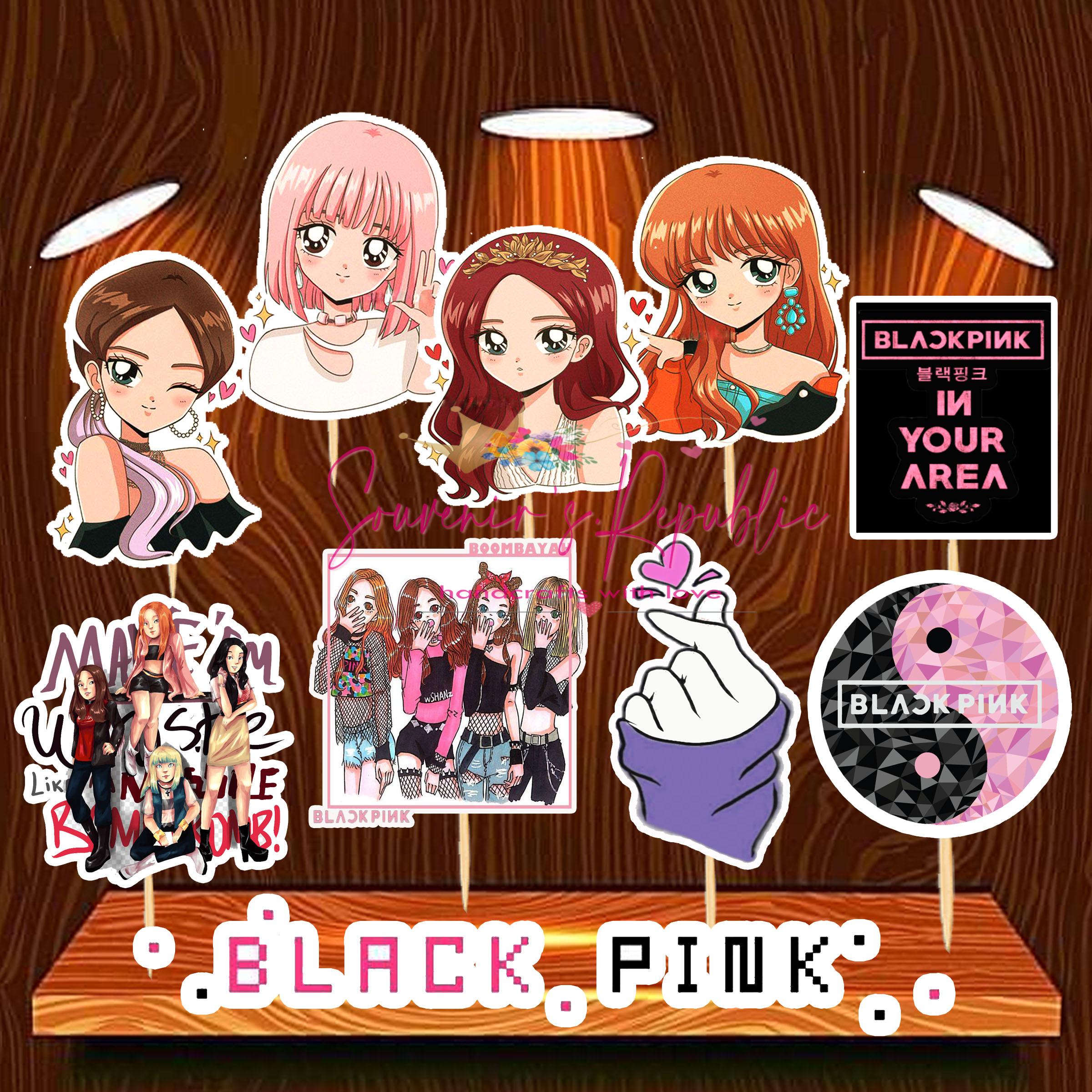 Black Pink Theme Cupcake Topper 24 Pcs Lazada Ph