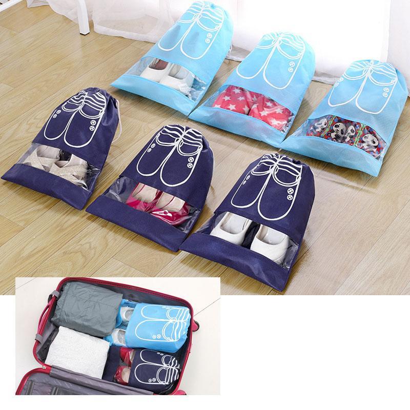 1a902a50f297 5 pcs big size 35 x 28 cm Portable Travel Shoe Bags Waterproof Large  Capacity Shoes Bags (Navy Blue)