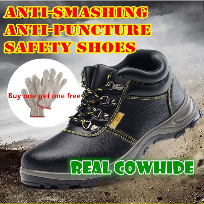 safety shoes for men Steel Toe Cowhide leather & Anti-smashing(send one  pair of cotton gloves)