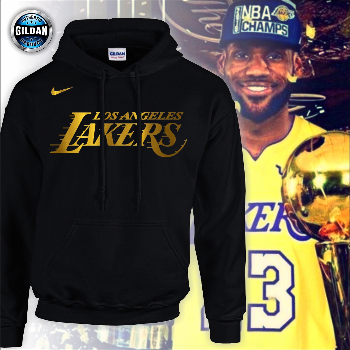 Gildan Brand Nba Los Angeles Lakers Hoodie Jacket La Lakers Championship Jacket Lebron James Hoodie Sweater Lazada Ph