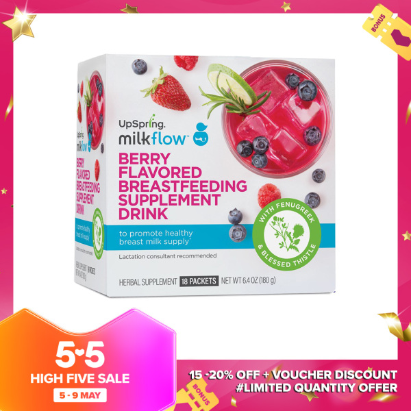 Buy Upspring Milk Booster Fenugreek and Blessed Thistle Lactation Supplement for Breastfeeding, Berry Drink Mix Powder, 18 Sachets Singapore